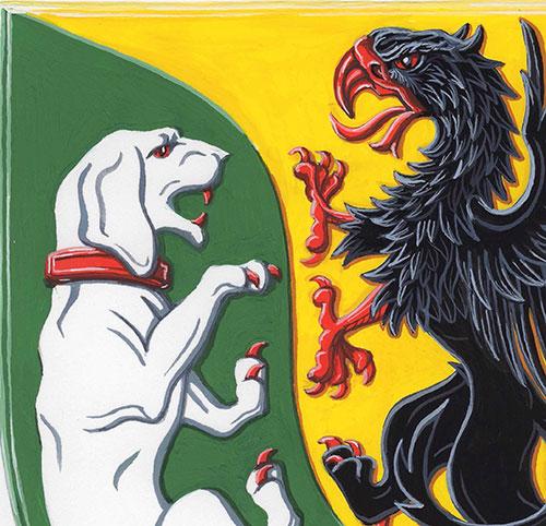 Vapen. Ena sidan är en hund på grön bakgrund, andra är en grip på gul bakgrund.