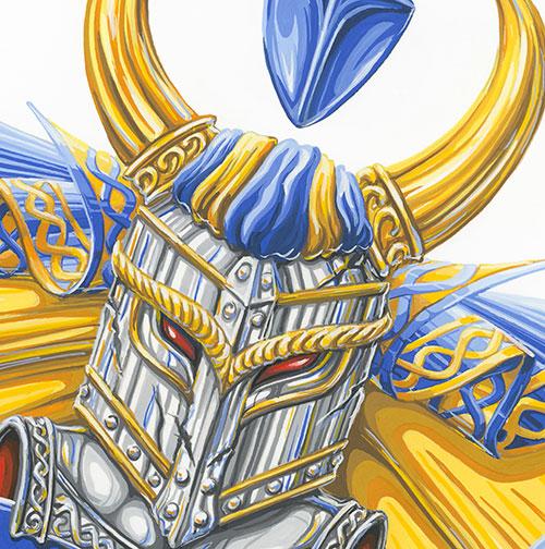 Riddare i guld och blått.