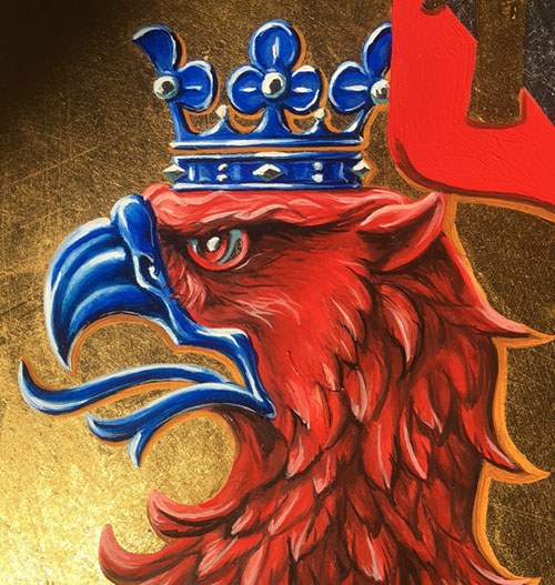 Röd grip i profil med en blå kungakrona.