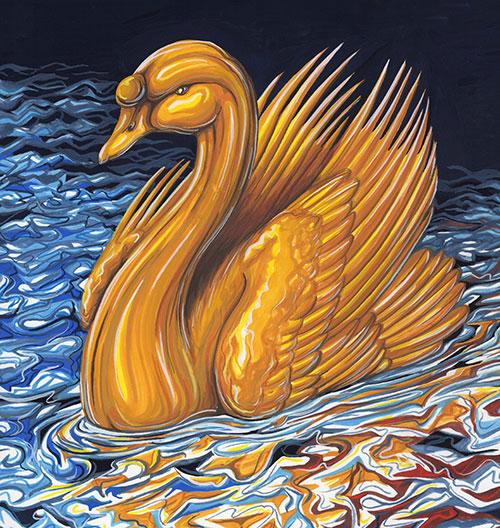 Förgylld svan i stormigt vatten.
